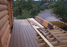 log home deck