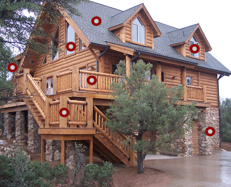 Exterior interactive home tour for Log home pictures exterior